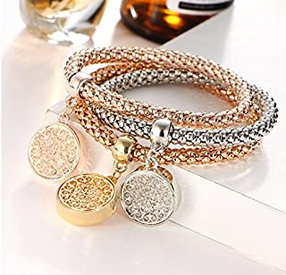 Charm Women Bracelet Gold Silver Rose Gold Rhinestone Bangle Jewelry Set