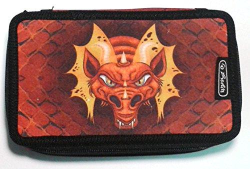 herlitz 50008551 Triple-Decker-Etui, 31 Teile, Buntstifte hexagonal, Fasermaler, 3 Klappen mit farbigem Innenfutter, Motiv: Dragon, 1 Stück