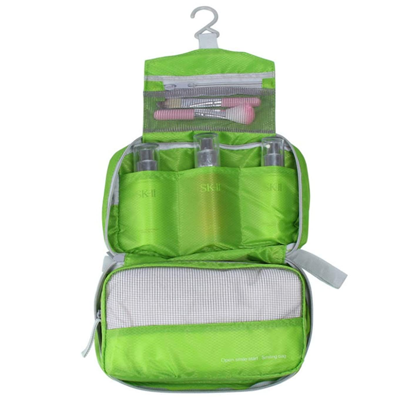 ヘア千神秘的な化粧オーガナイザーバッグ 化粧品のバッグは、防水、ハンガー、旅行メッシュとジップコンパートメントのウォッシュバッグです。 化粧品ケース (色 : 緑)