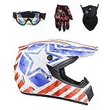 DOT Certified ATV Helmet for Men Women, Adult Dirt Bike Off Road UTV Motocross Helmet with Goggles Neck Gaiter Gloves, Lightweight Downhill MX BMX Four Wheeler MTB Helmet,White Stripes,L