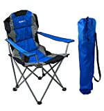 GigaTent Blue Folding Camping Chair – Ultra Lightweight Collapsible Quad Padded Lawn Seat with Full Back, Arm Rests, Cup Holder and Shoulder Strap Carrying Bag – Powder Coated Steel Frame