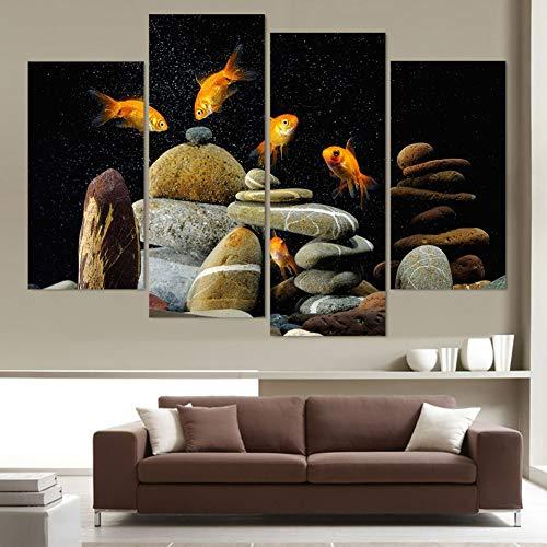 WLEZY HD-druk 4 stuks canvas kunst canvas schilderij vis aquarium stenen  HD gedrukt muurkunst poster foto's voor woonkamer wooncultuur (geen lijst)