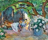 OYNKYAX Pintar por numeros Adultos, DIY Oil Painting, DIY Pintura por Números Kit - Pintura de Paisaje impresionista - Henri Lebasque - LE PRADET, Mujer Joven con Hamaca(40x50cm, Frameless)