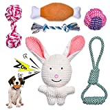 Feeko Squeaky Plush Dog Rope Toy 6 Pack for Puppy, Bulk with Squeakers for Small and Medium Dogs, Cute Puppy Chew Toys for Puppy Teething Toys, Durable, Safe, Non-Toxic and Interactive Pet Toys