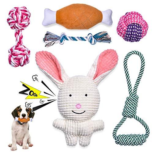 Feeko Squeaky Plüsch-Hundeseilspielzeug 6er-Pack für Welpen, Bulk mit Quietschern für kleine und mittlere Hunde, süßes Welpen-Kauspielzeug für Welpen-Beißspielzeug, langlebig, sicher, ungiftig