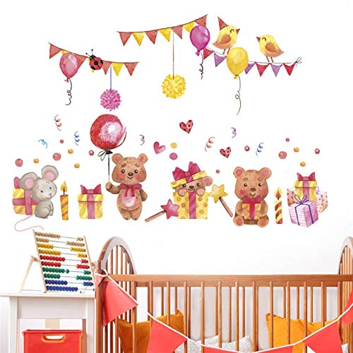WLYUE Decal Sticker wall art, cartoon bear ballon flag wall stickers for kids rooms bedroom decoration art decals home decor birthday festival decoration