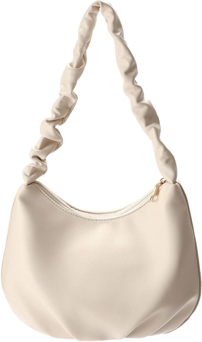 JSQWD Folded Cloud Bag Crescent Underarm Bag French Stick One Shoulder Large Capacity Bag Cloud Bag Underarm Bag Lady Handbag (Color : Black)