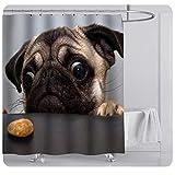 Michorinee Duschvorhänge mit Niedlich H&emotiv Wasserdicht Anti-Schimmel Badewannenvorhang Anti-Bakteriell Panik H& mit 12 Haken für Badezimmer 180 × 180 cm