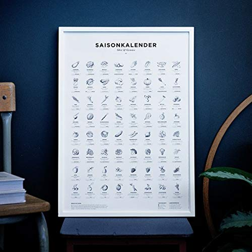 Saisonkalender für Obst & Gemüse schwarz-weiß (Format A2, Poster, Plakat, Kalender)