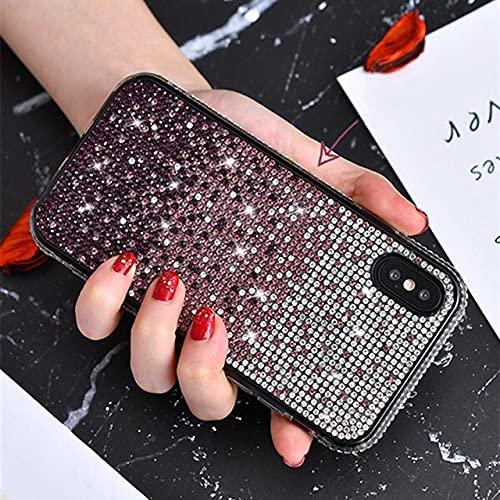 Estuche Bling para iPhone 12 Mini 11 Pro MAX XS X XR 6 S 7 8 Plus para Samsung Note 20 S20 para Ultra Huawei P40 Mate 30 Cubierta de Diamante Brillante, Morado Degradado, para 6Plus o 6SPlus