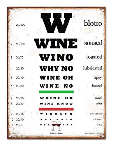 Placa de metal de 30,48 cm x 40,64 cm da Wine Eye Chart. Presente engraçado! Coloque um grande sorriso no rosto deles com este presente hilário de amantes de vinho para ele ou para ela! Decoração de bar para casa, cozinha, adega de vinho, caverna masculina, aniversários