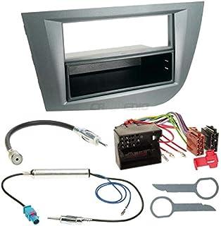Carmedio Seat Leon 1P 05 10 1 DIN Autoradio Einbauset in original Plug&Play Qualität mit Antennenadapter Radioanschlusskabel Zubehör und Radioblende Einbaurahmen Silber