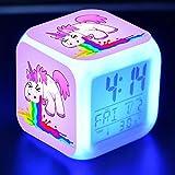 Precioso Unicornio Pegatina Led Reloj Despertador De Escritorio Luz De Flash Colorida Unicornios Figura Juguetes Para NiñOs Proveedor De Fiesta N12