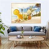 WGEYI Sommerstrand Zitrone Getränk Fruchtsaft Gemälde
