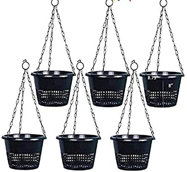 KHOJI Black Orchid Hanging Flower Pots, Set of 6 Pots (0020)