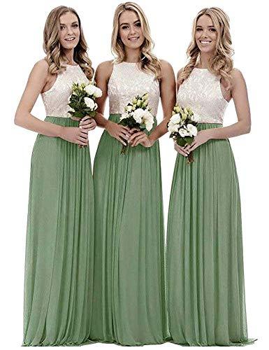 yinyyinhs Damen Oben Spitze Chiffon Brautjungfernkleider Eine Linie Lange Abendkleider Größe 42 Salbeigrün