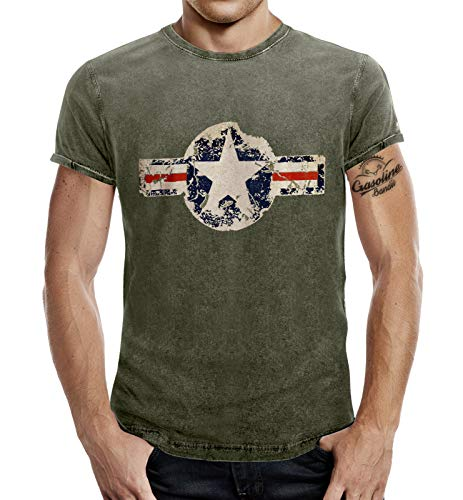 T-Shirt für den US-Army Fan im Washed Jeans Look USAF Oliv