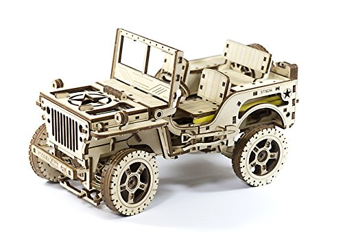 Wooden.City 3D Wooden Puzzle Mechanical Model for Adults and Teens, 4x4 Army Jeep, DIY Kit for Self-Assembly, No Glue Required