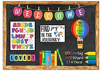 Funnytree 7X5FT Online Teaching Backdrop Teacher Distance Classroom Chalkborad Back to School Background Student Welcome ABC Banner Decor Portrait Photobooth Cake Table Selfie Prop Gift