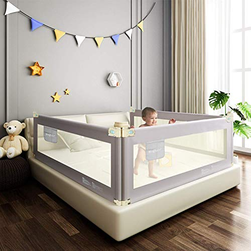 Mingfuxin Extra Long Safety Bed Rails for Toddlers, Vertical Lifting Foldable Bed Guardrail Crib Bed Rails Guard for Kids Twin, Double, Queen & King Size with Dual Lock- Single Side 70