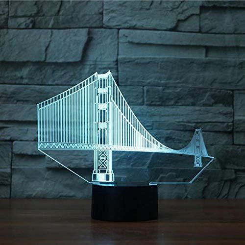 Ydwdbedroom Vision Usb Luminaire De Chevet Luminaire Golden Gate Bridge Modélisation 3D Led Bureau Lampe 7 Couleur Night Light Decor Cadeaux