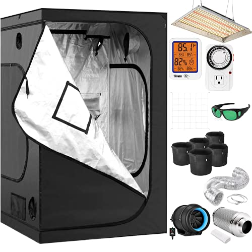 iPower Tent Kit Complete 4x4 System with Led Growing Light, 4 Inch Inline Fan, Carbon Filter and 8ft Ducting Combo, 48' x 48' x 78', Black