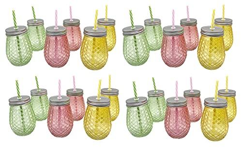Lote 24 Jarras colores con tapa y pajita – Jarritas cristal – colores rosa , verde y amarillo