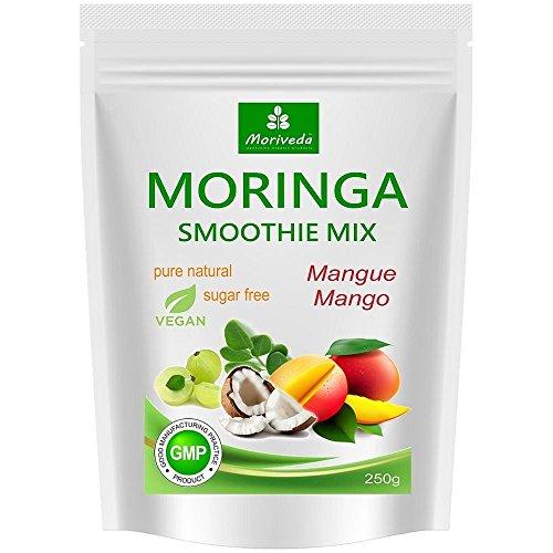 MoriVeda® - Moringa Smoothie Pulver, Energiebooster, Vitaminshake, Proteinshake, Mahlzeitenersatz - versch. Geschmacksrichtungen, 100% natürlich und vegan, ohne Zuckerzusatz* (250 g Mango Geschmack)
