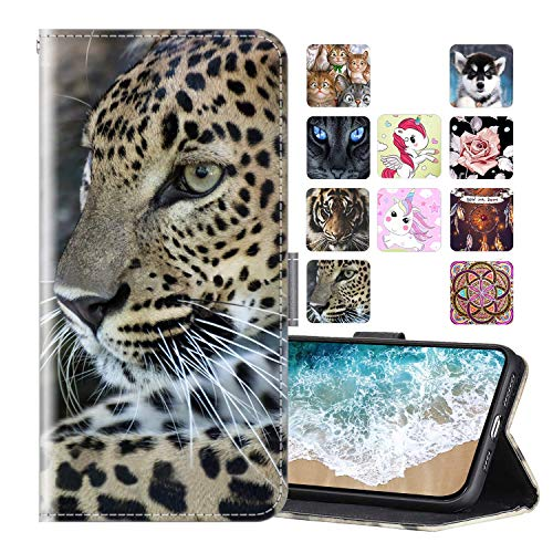 Cherfucome Funda para Xiaomi Redmi 5 Plus Carcasa Libro Flip Case Magnético Funda de Cuero PU Carcasa Redmi 5 Plus Funda Móvil Case Flip Leather Wallet [A04*Leopardo]