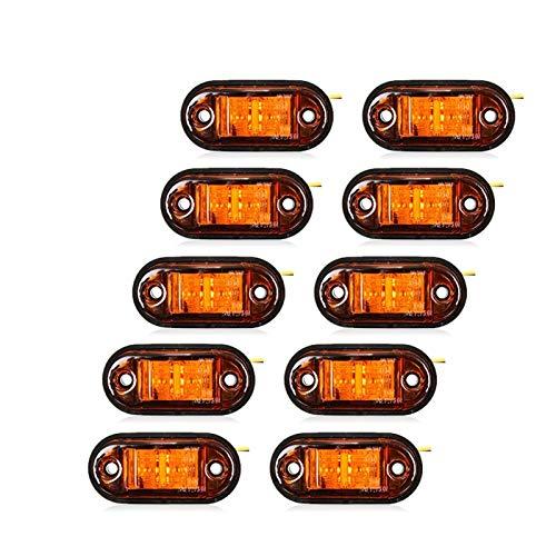 ZHANGHAIYAN Lado 10PCS Luz de advertencia LED de diodos de luz Oval Liquidación del remolque del camión Naranja Blanco Rojo LED Luz de delimitación 12V 24V Camión Accesorio ( Emitting Color : Amber )