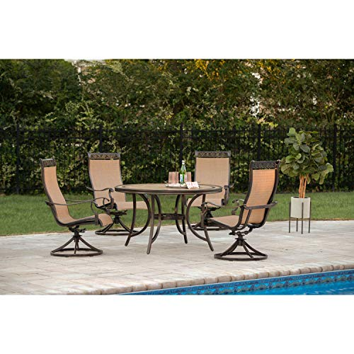 Hanover MONACO5PCSW Monaco 5-Piece Patio Dining Set, 4 Sling Swivel Rocker Chairs and 51u0022 Round Tile-Top Table, Brushed Outdoor Furniture, Size 1, Porcelain/Metallic