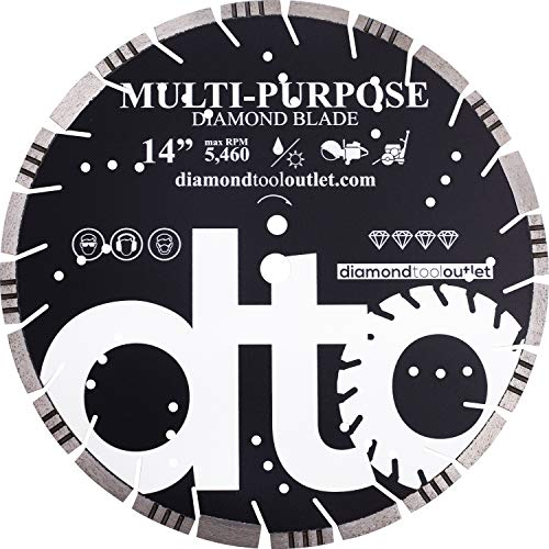 dto SMP14P 14-Inch Premium Diamond Segmented Saw Blade for Multi-Purpose, Hard Concrete, Concrete, Asphalt, Brick, Block, 1-Inch Arbor, Wet or Dry Cutting, 5460 Max. RPM, 10mm (.394