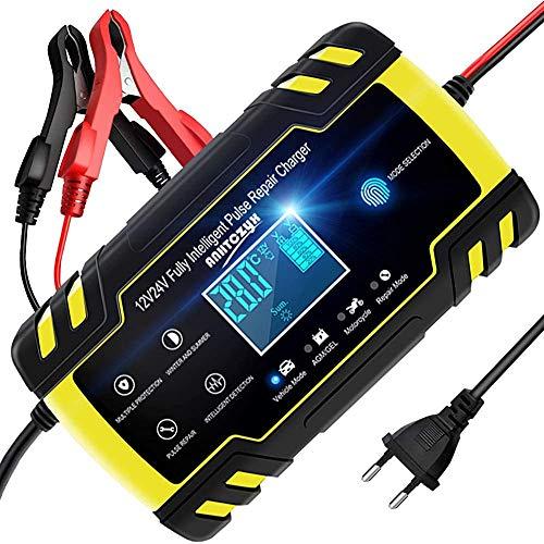 ZHITING Cargador de Batería Coche 12V/24V Battery Charger Inteligente con Pantalla LCD Protecciones para Automóviles Motos (Amarillo)