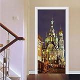Pintura decorativa pegatinas de puerta 3d Vista nocturna de las luces de la calle de la ciudad...