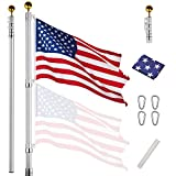 Yeshom Upgraded 25 ft Telescopic Heavy Duty Aluminum Flag Pole Kit Fly 2 Flags 3'x5' US Flag & Ball Top Flagpole for Commercial Residential Outdoor