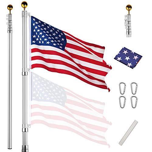Yeshom 20ft Telescopic Aluminum Flag Pole Free...
