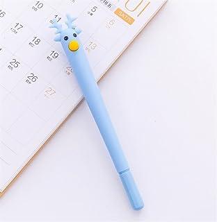 Royare of School Supplies 4Pcs/Set Elk Gel Pen Kit Novel Plastic Signature Pen Study Stationery Set (Blue)