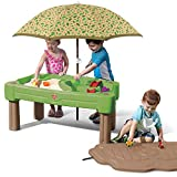 Step2 Cascading Cove Sand & Water Table with Umbrella | Kids Sand & Water Table with Umbrella | 6-Pc Water Accessory Set Included | Green