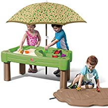 Step2 Cascading Cove Sand & Water Table with Umbrella   Kids Sand & Water Table with Umbrella   6-Pc Water Accessory Set Included   Green