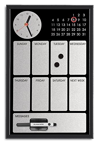 Bi-Office Easy Black Tableau à mémo Calendrier Hebdomadaire avec Horloge Argentée 30 x 45 cm Noir