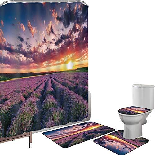 Ensemble de rideau douche Accessoires salleLavande Couverture toilette pour tapis bain Champs en fleurs dans des rangées infinies Agriculture Aromathérapie Image Campagne rurale,multicolore Antidérapa