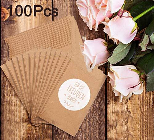100 Stück Freudentränen Geschenktüten & Sticker Mini Vintage Kraftpapier Papiertüten Flachbeutel Tüten für Taschentücher zur Hochzeit Geschenk umweltfreundlich