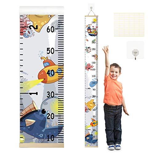 ZoomSky Kinder Messlatte Tragbare Roll-up Holz Talltape Wand Hängende Höhe Diagramm Wachstumsmesser Baby Körpergröße Messleiste Kinderzimmer Deko mit Haken und Marker Etikette (Ozean)