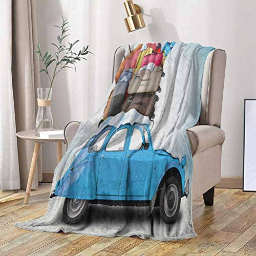 Winter Toddler Blanket Traveling Themed Snowy Image Ski Baggage Items Blue Vintage Car Holiday Photograph 50x60 Inch Lightweight Cozy Plush Throw Blanket