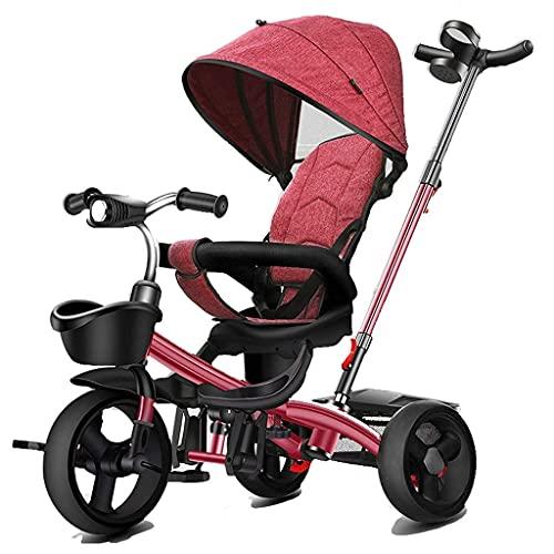 OHHG Bicicleta niños, Triciclo, Triciclo, Triciclo, Cochecito bebé asa, bicitaxi niños 8 Meses a 6 años, Marco Metal Techo Lujo, Botella pequeña