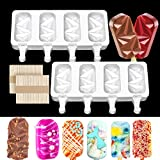 Palksky (2pcs) 4 Cavity Diamond Oval Popsicle Silicone Mold/ Large Reusable Chocolate Covered Ice Cream Bars Mold/ Classical Ice Pop Tray with 100 Sticks for DIY Ice Lollies, Cake Pop, Cakesicles