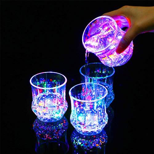 4Pcs Leuchtende Glas LED Sektglas Trinkglas beleuchtetes Party Glas Trinkbecher Geburtstag Silvester Hochzeit Party Deko Geschenk
