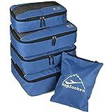 5pc Packing Cubes Set Large Travel Luggage Organizer 4 Cubes 1 Laundry Pouch Bag - Darkblue - Medium