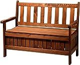 dobar Gartenbank Massive mit Lehne 2-Sitzer aus FSC Holz, 115 x 58 x 89 cm, braun