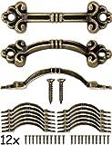 FUXXER® - 12 tiradores de muebles antiguos para cajas, cajas, cajones, baúles pequeños, bronce, diseño vintage, 4,8 x 1,4 cm, juego de 12 unidades, incluye tornillos
